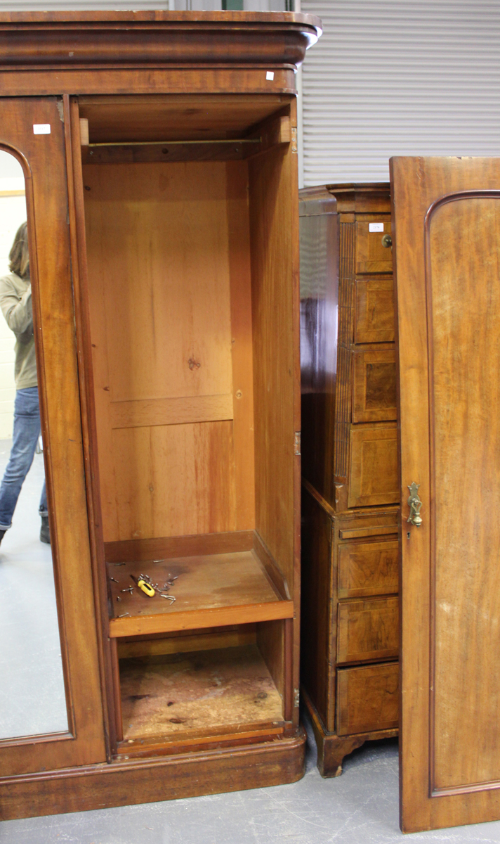 A late Victorian mahogany three-section wardrobe, fitted with panelled doors, height 215cm, width - Image 3 of 5