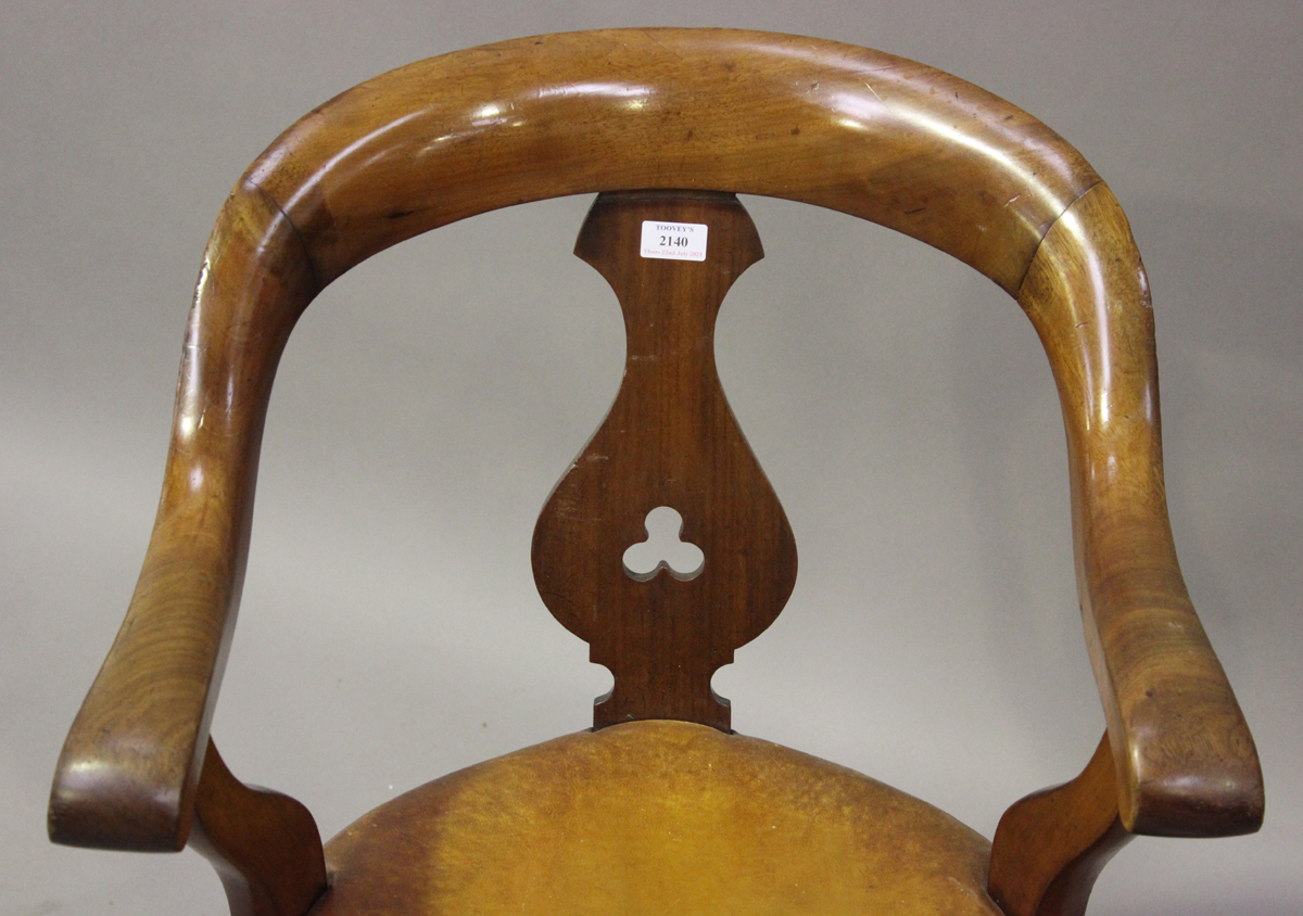 A late Victorian mahogany framed tub back revolving desk chair with a circular brown leather seat, - Image 3 of 4