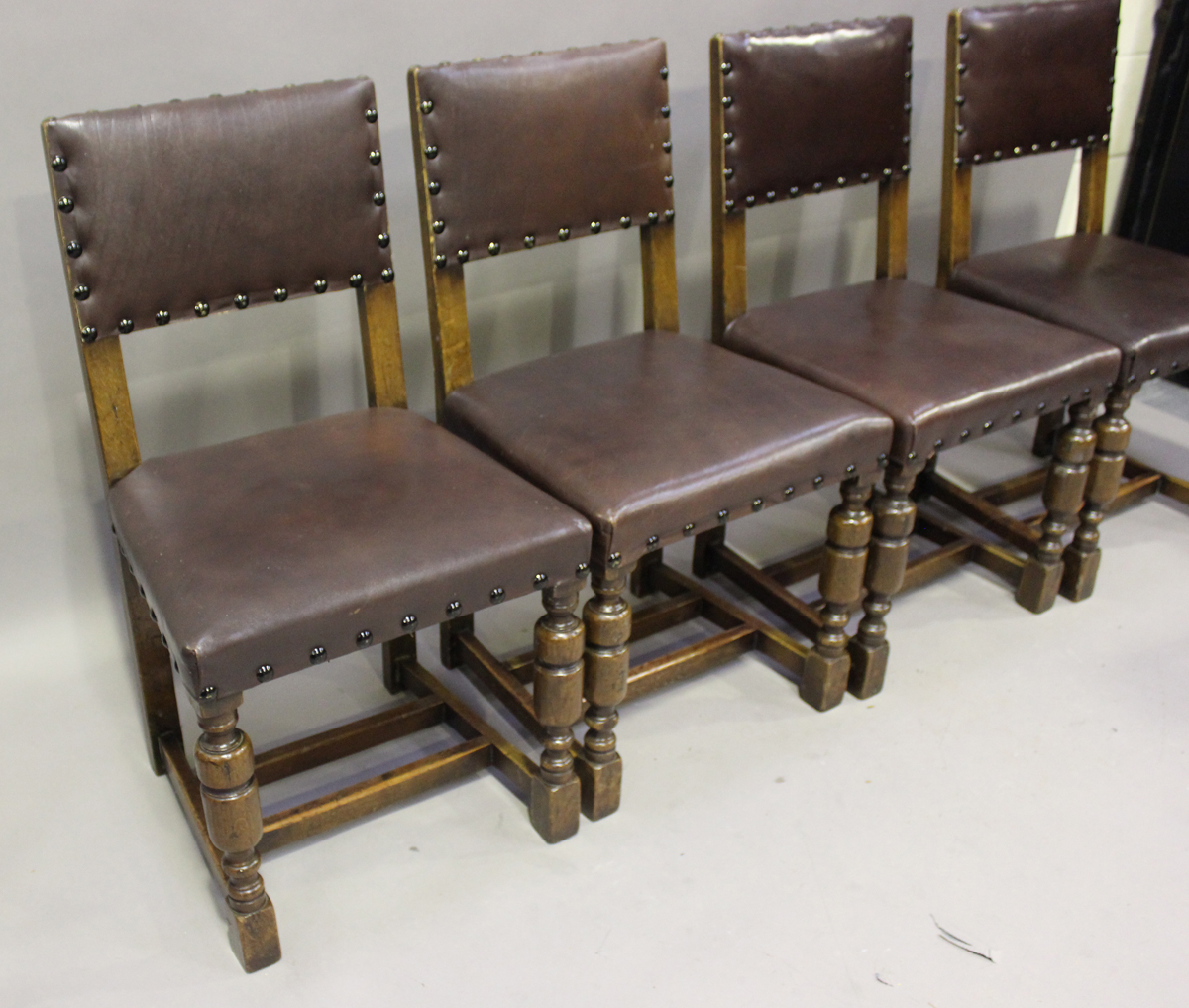 An early/mid-20th century harlequin set of seven oak framed dining chairs, comprising a set of - Image 2 of 4