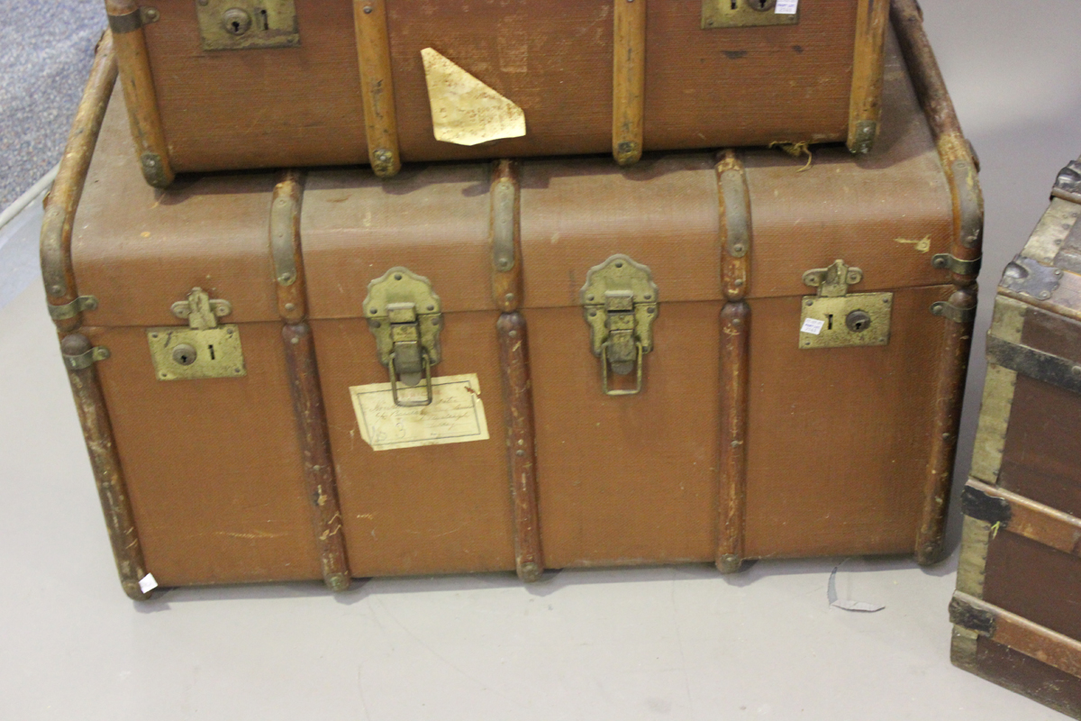 An early 20th century wooden and metal bound trunk, height 55cm, width 91cm, depth 51cm, together - Image 3 of 5