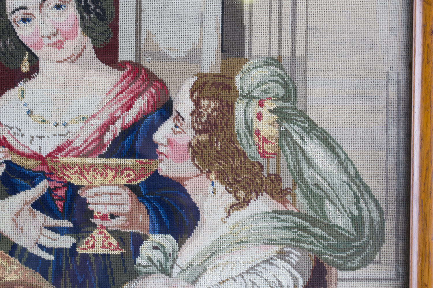 A Victorian Berlin woolwork panel depicting a seated king and two ladies, 75cm x 66cm, within a - Image 9 of 13