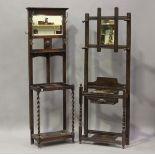 A George V oak hallstand, height 180cm, width 59cm, depth 30cm, together with another oak hallstand,