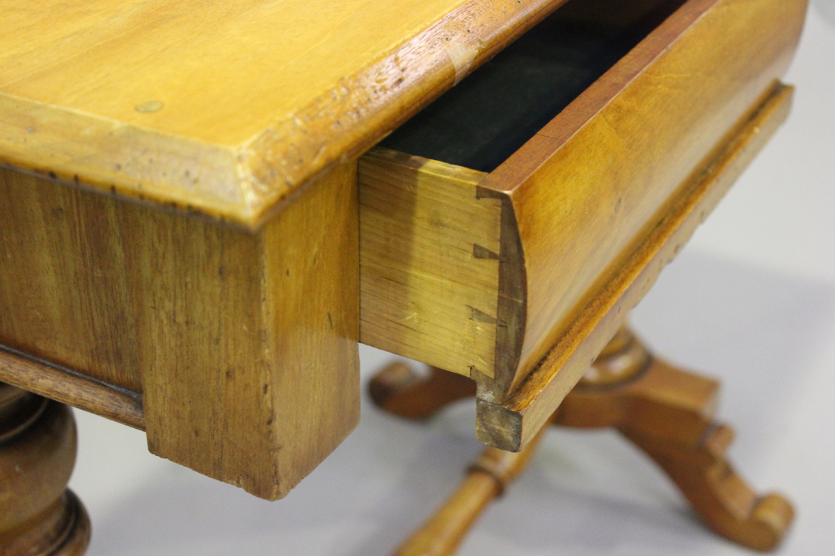 A late Victorian walnut side table, fitted with two frieze drawers, on turned supports, height 80cm, - Image 3 of 4