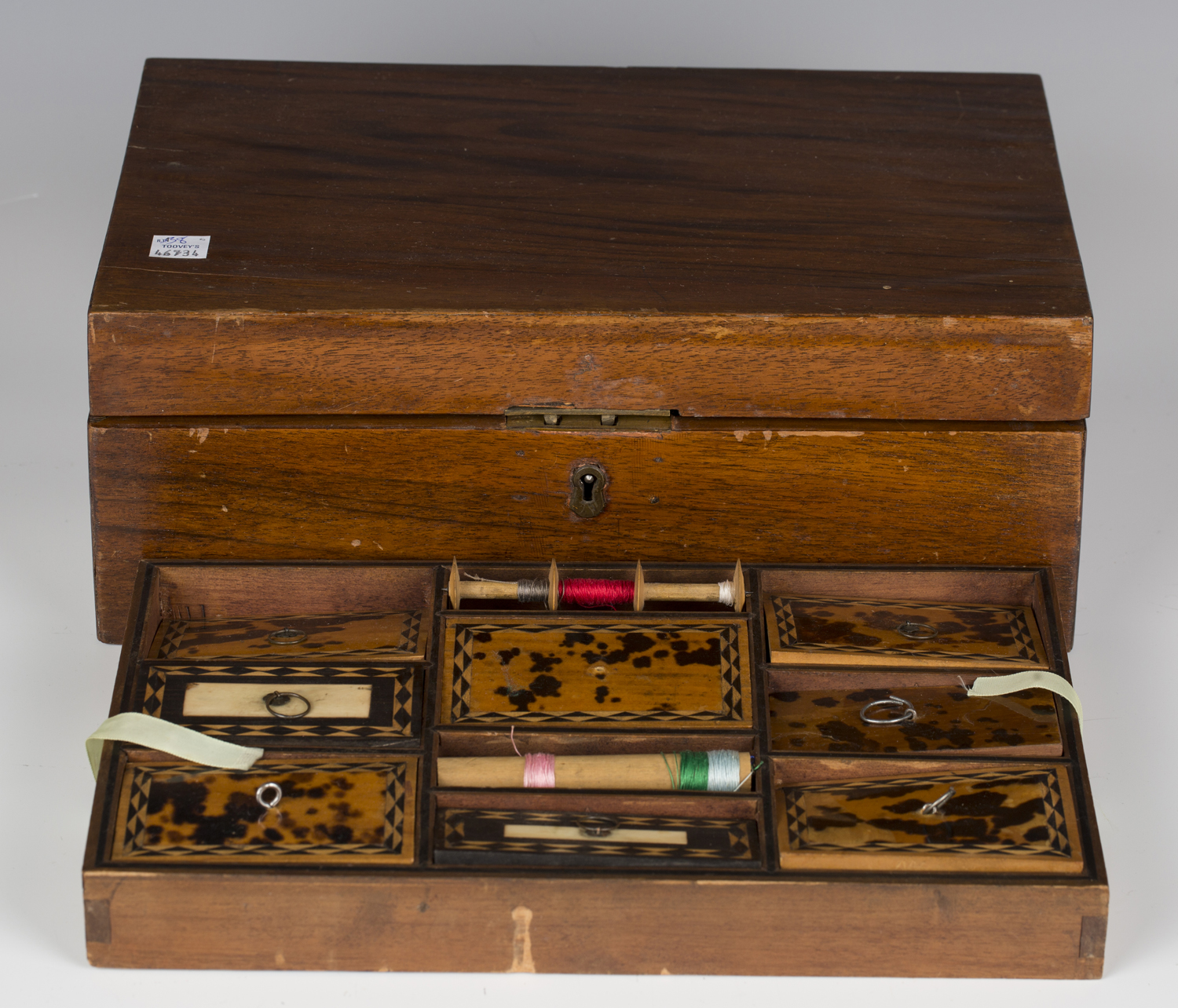 A late 19th century walnut workbox, the interior with a removable tray inset with tortoiseshell - Image 2 of 3