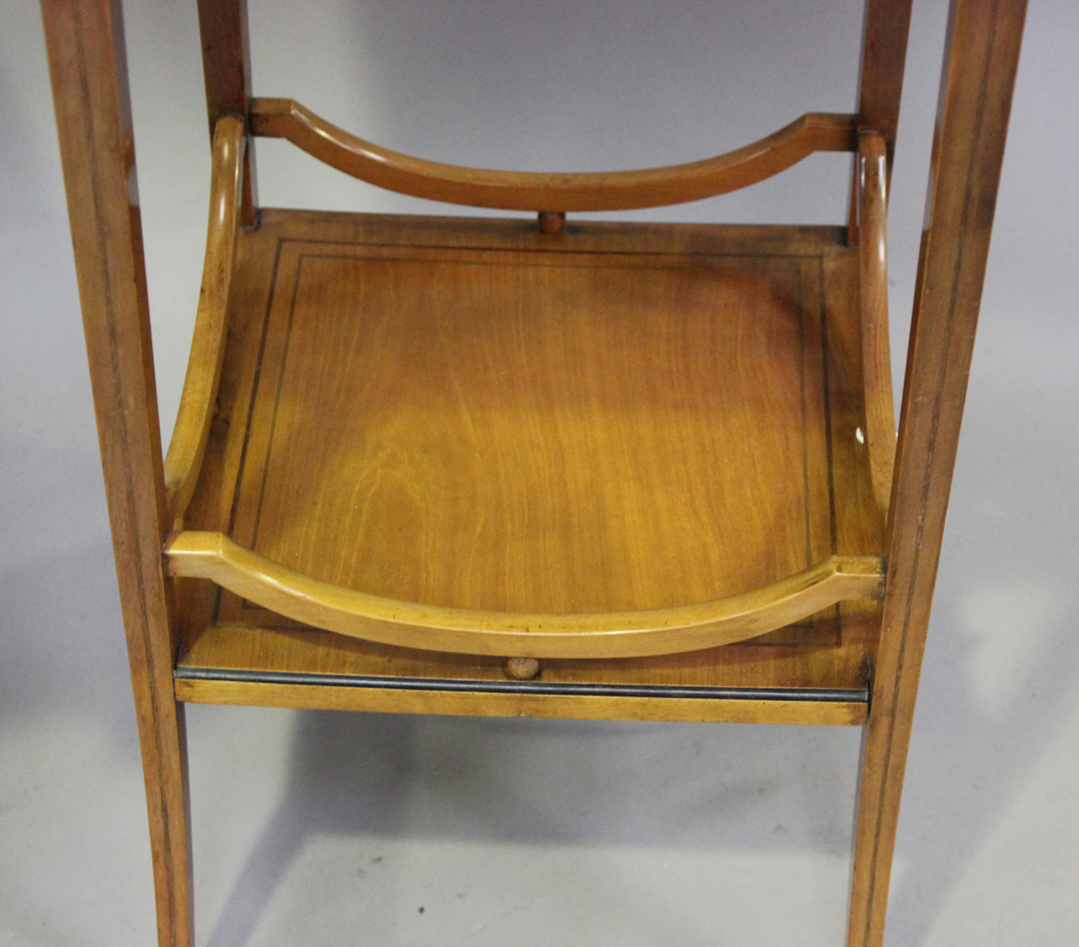 An Edwardian satinwood two-tier square occasional table with foliate inlaid decoration, height 64cm, - Image 3 of 6