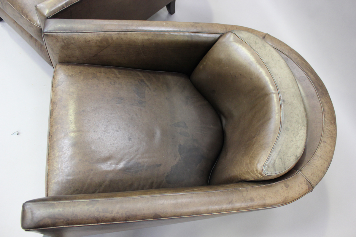 A pair of mid/late 20th century brown leather Marlborough style tub back armchairs, possibly - Image 5 of 5