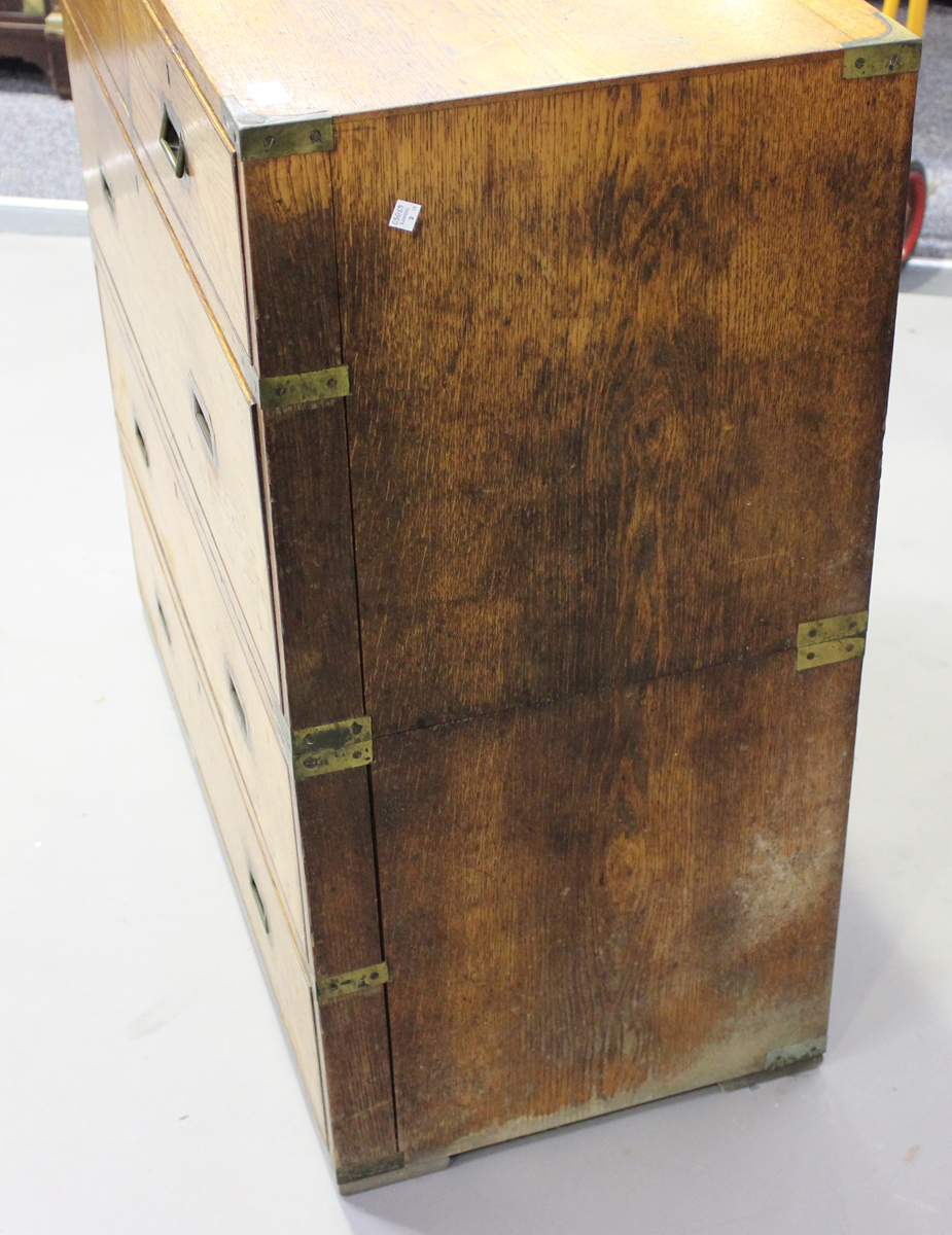 A late 19th century oak and brass bound campaign chest of two short and three long drawers, height - Image 5 of 7