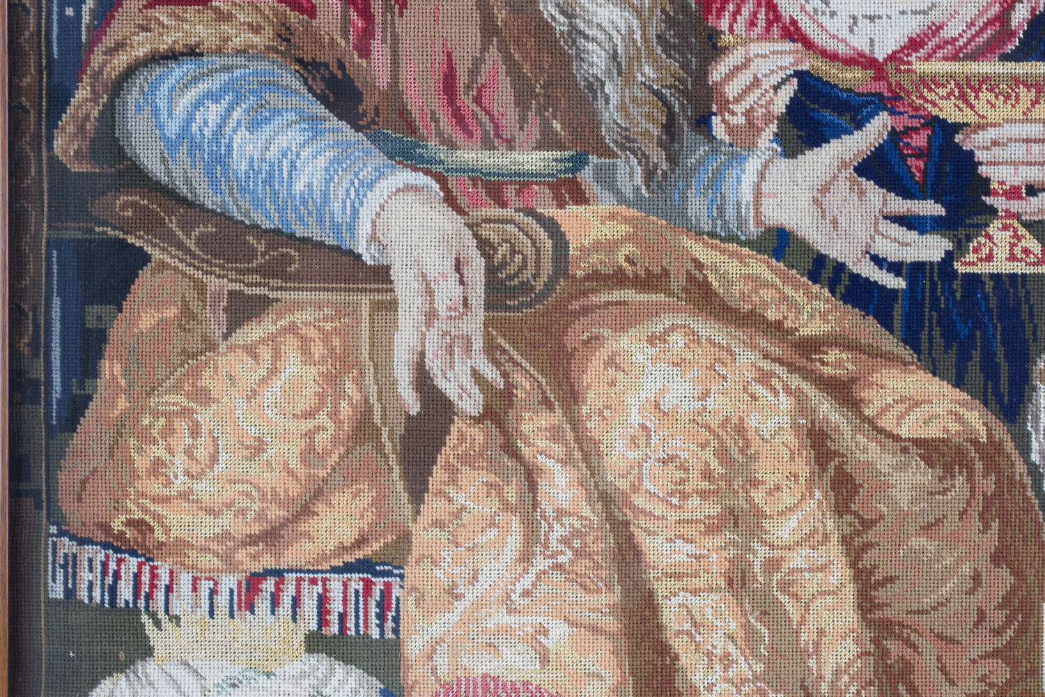 A Victorian Berlin woolwork panel depicting a seated king and two ladies, 75cm x 66cm, within a - Image 8 of 13