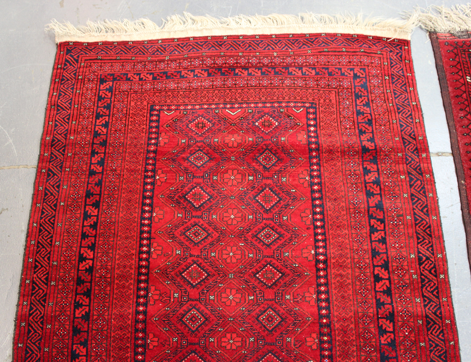 A small Afghan rug, late 20th century, 160cm x 102cm, together with another similar Afghan rug, - Image 4 of 4