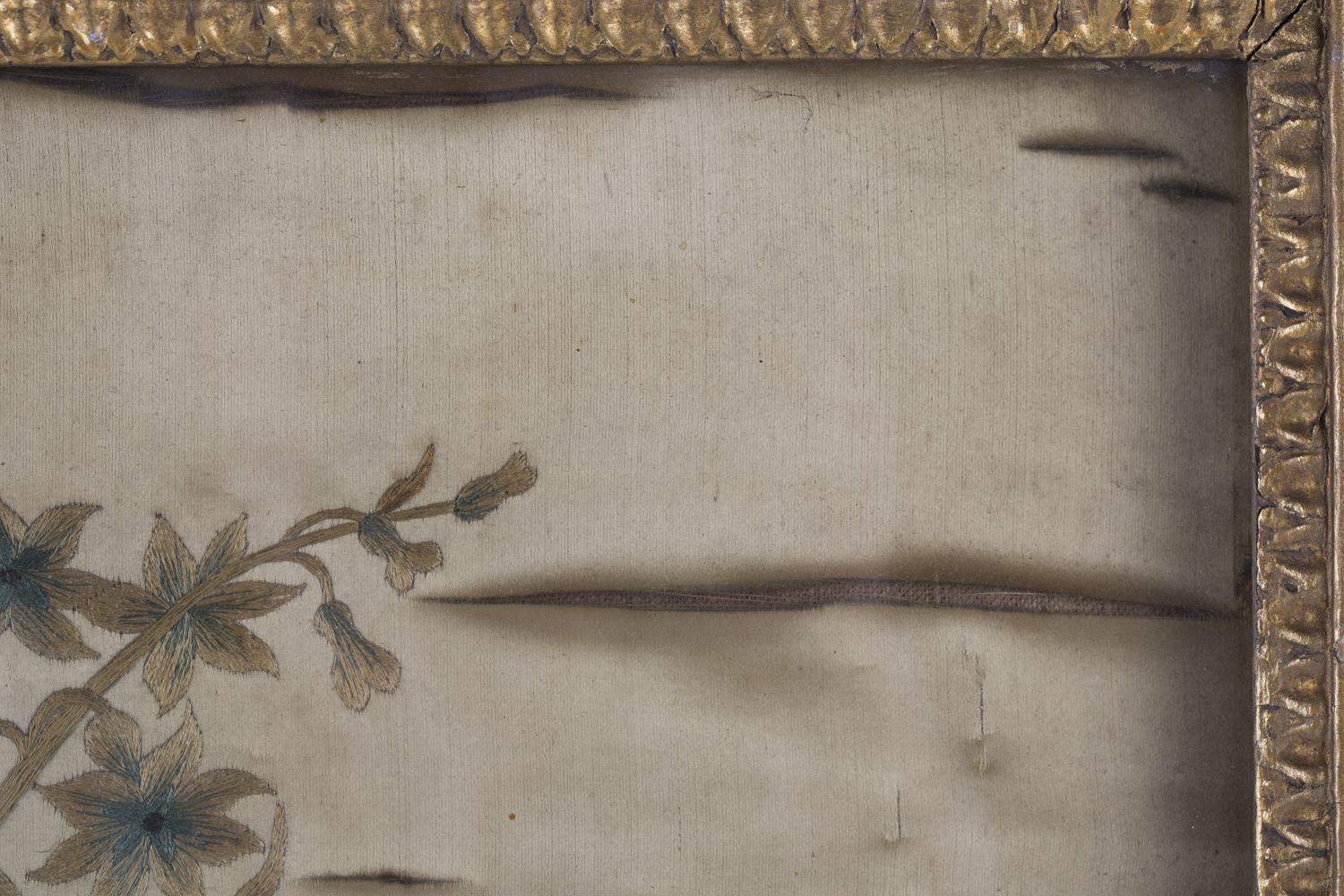 A near pair of late 19th century Japanese silk and metal thread stumpwork panels, both depicting - Image 8 of 31