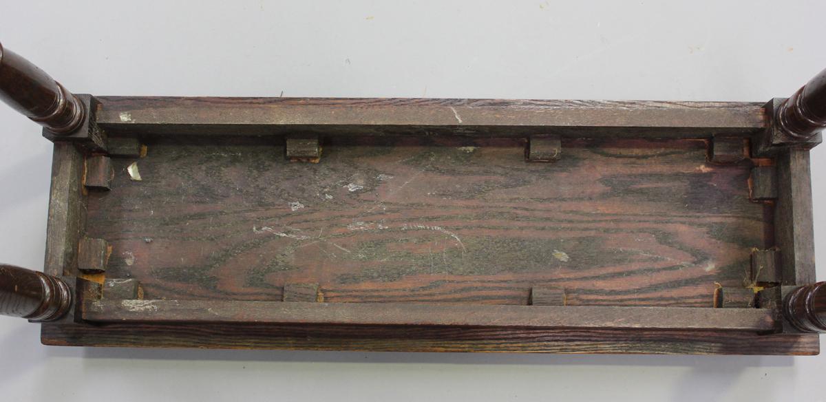 An Edwardian oak window seat, in the manner of James Shoolbred, height 51cm, width 91cm, depth - Image 2 of 4