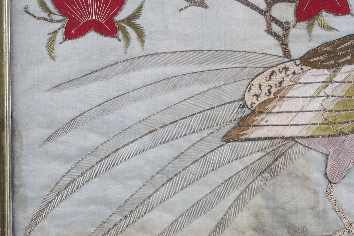 A near pair of late 19th century Japanese silk and metal thread stumpwork panels, both depicting - Image 27 of 31
