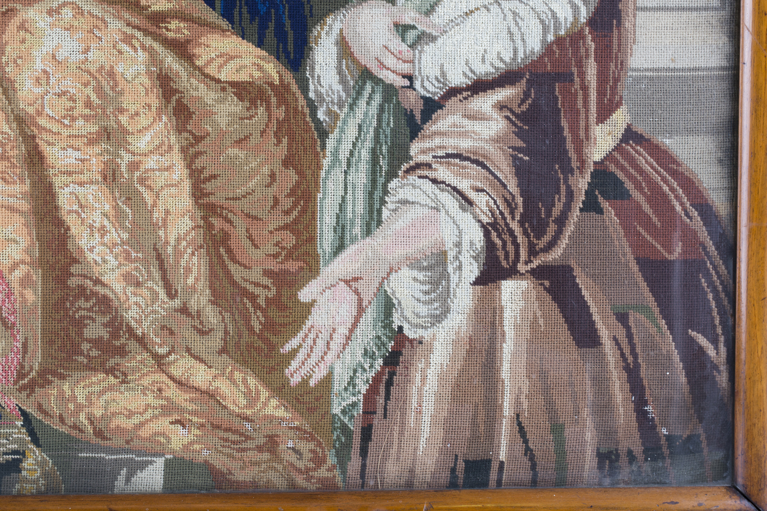 A Victorian Berlin woolwork panel depicting a seated king and two ladies, 75cm x 66cm, within a - Image 2 of 13