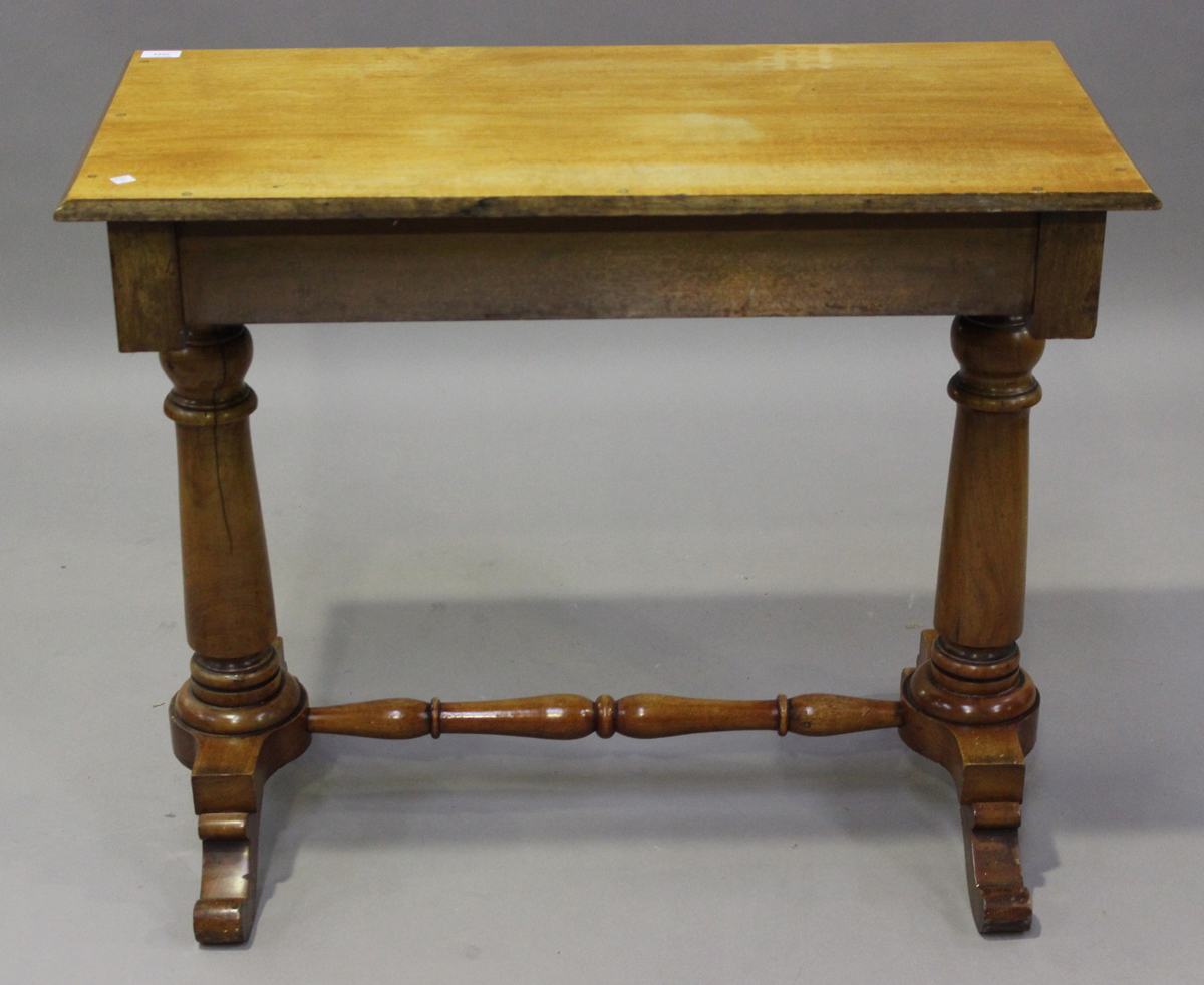 A late Victorian walnut side table, fitted with two frieze drawers, on turned supports, height 80cm, - Image 2 of 4