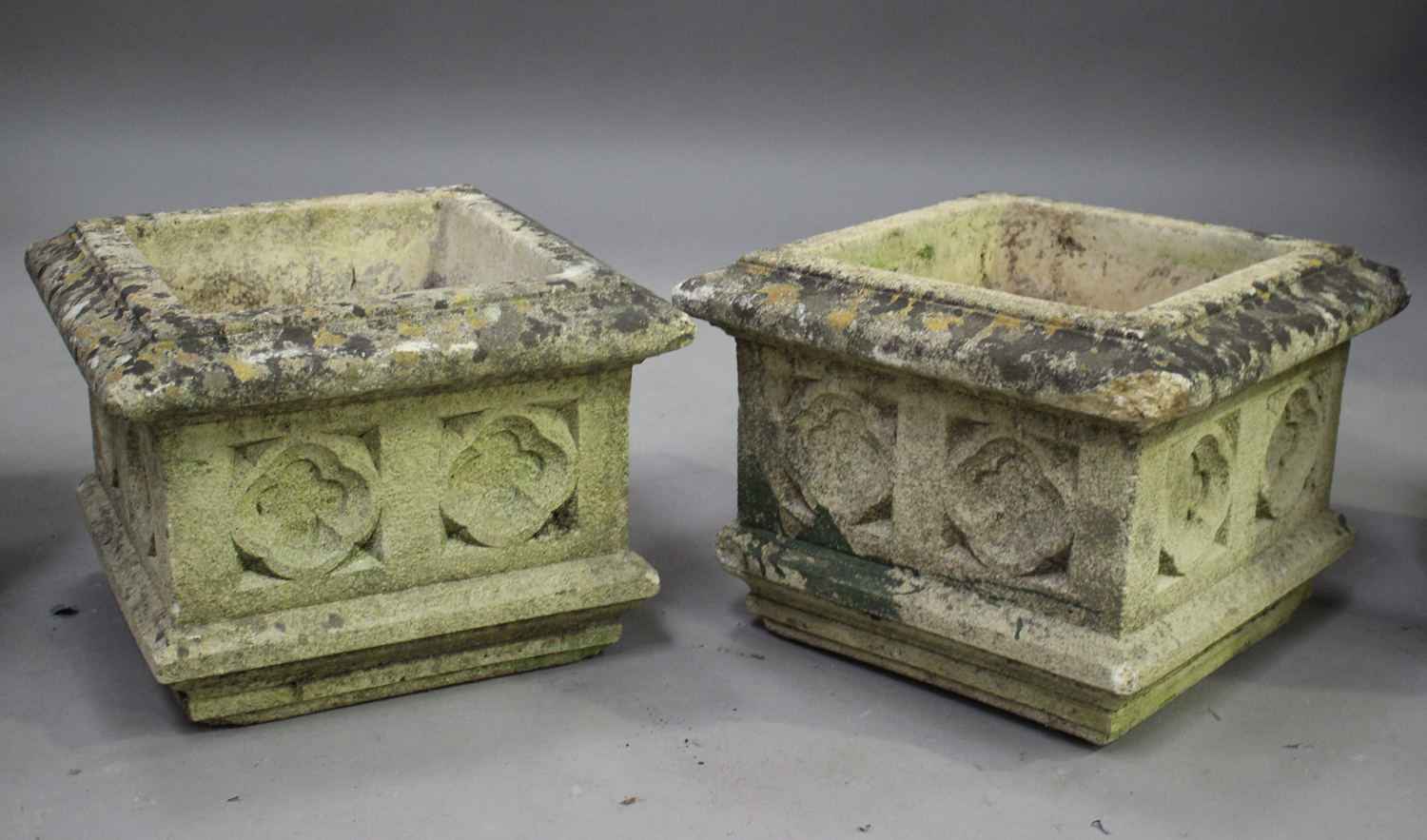 A pair of 20th century cast composition stone planters, decorated with grapes and scrolls, height - Image 4 of 7