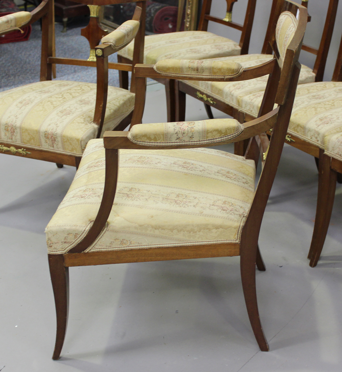 A 20th century Empire style mahogany six-piece salon suite, comprising a pair of armchairs, height - Image 2 of 6