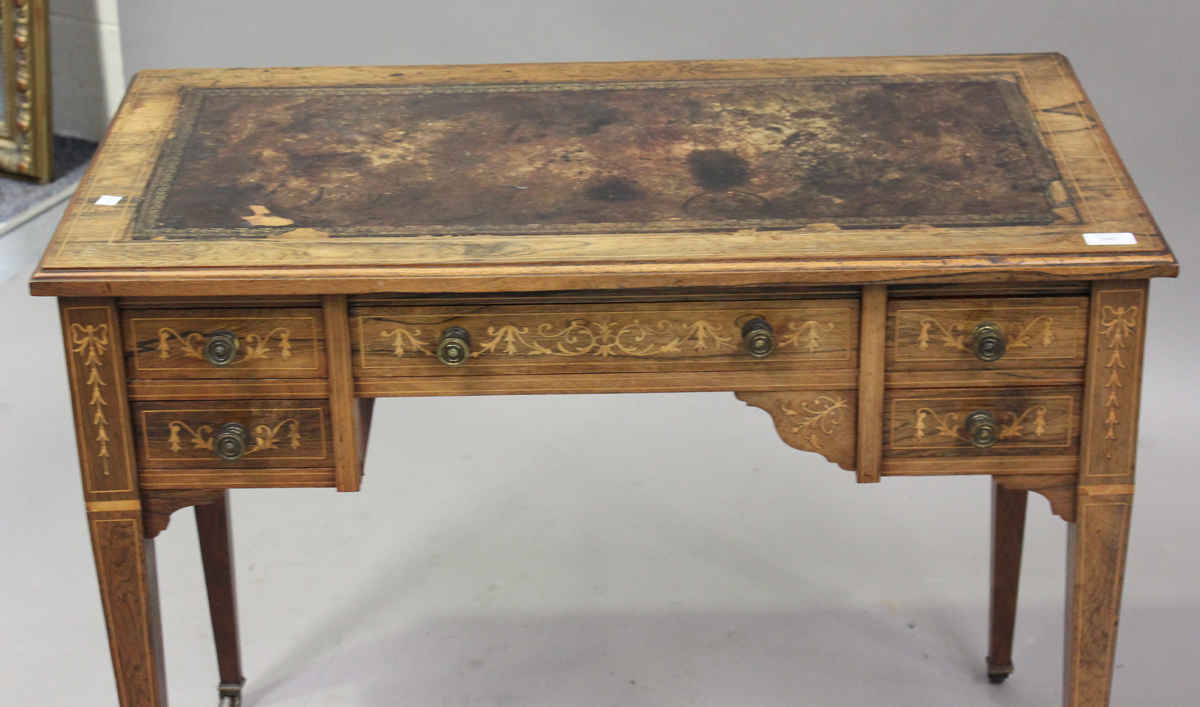 A late Victorian rosewood writing table with boxwood foliate and line inlaid decoration, height - Image 5 of 5