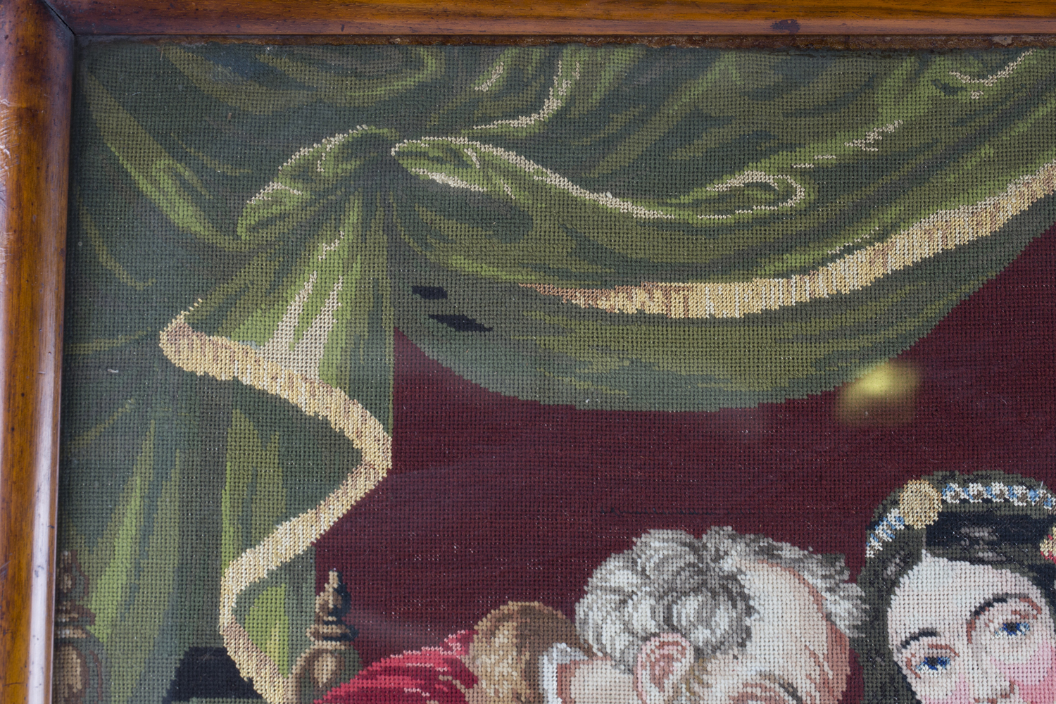 A Victorian Berlin woolwork panel depicting a seated king and two ladies, 75cm x 66cm, within a - Image 13 of 13