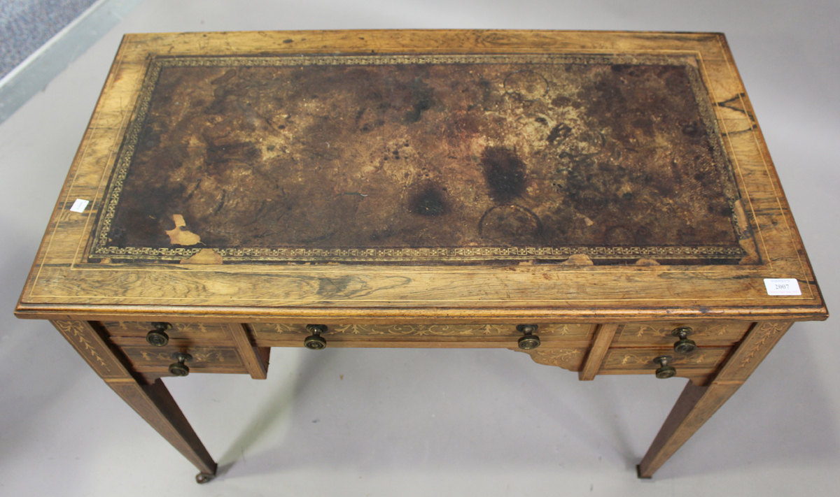 A late Victorian rosewood writing table with boxwood foliate and line inlaid decoration, height - Image 4 of 5