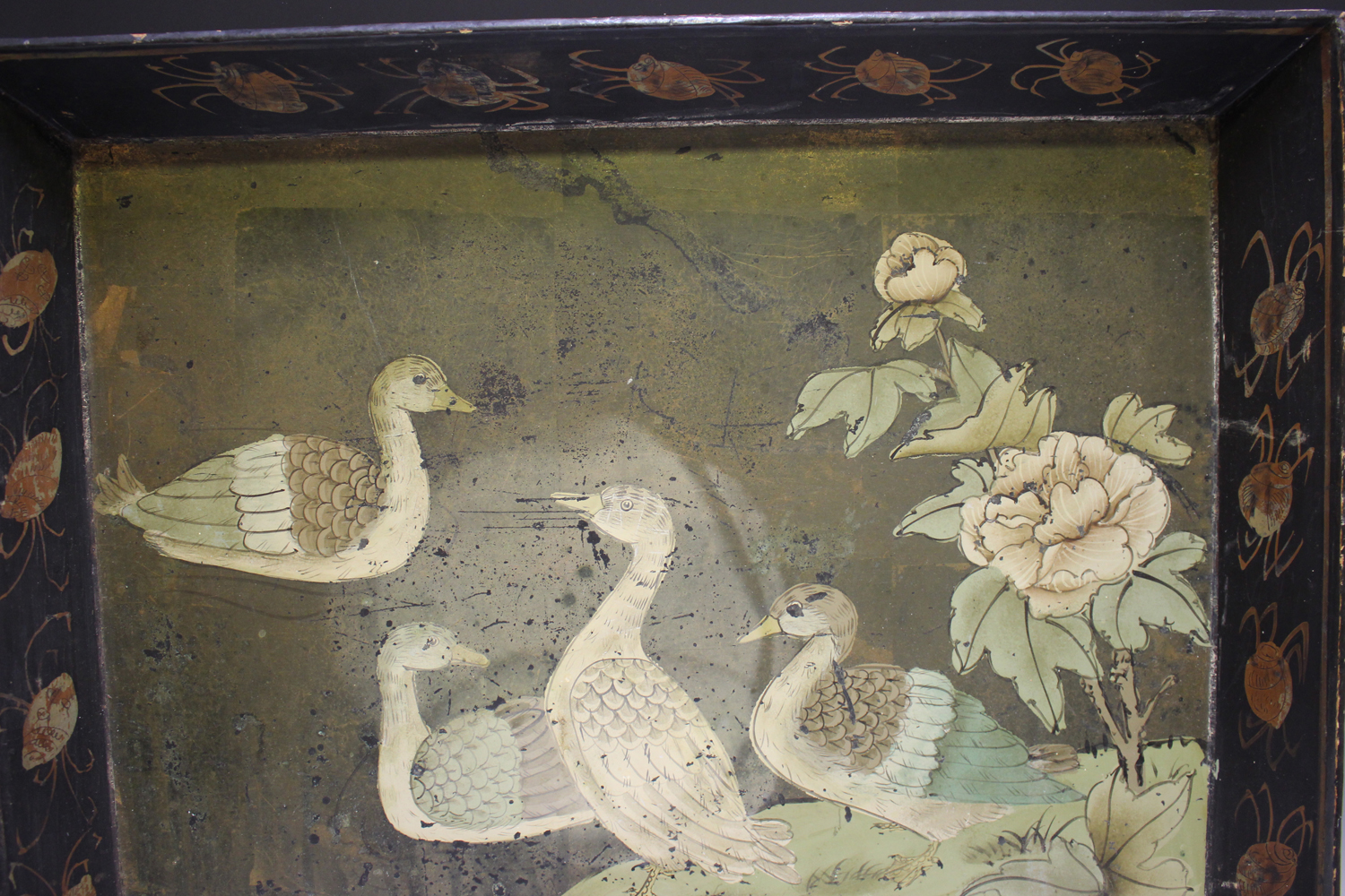 An early 20th century Chinese lacquered gallery tray, painted with ducks at a lakeside, width 54cm. - Image 7 of 7