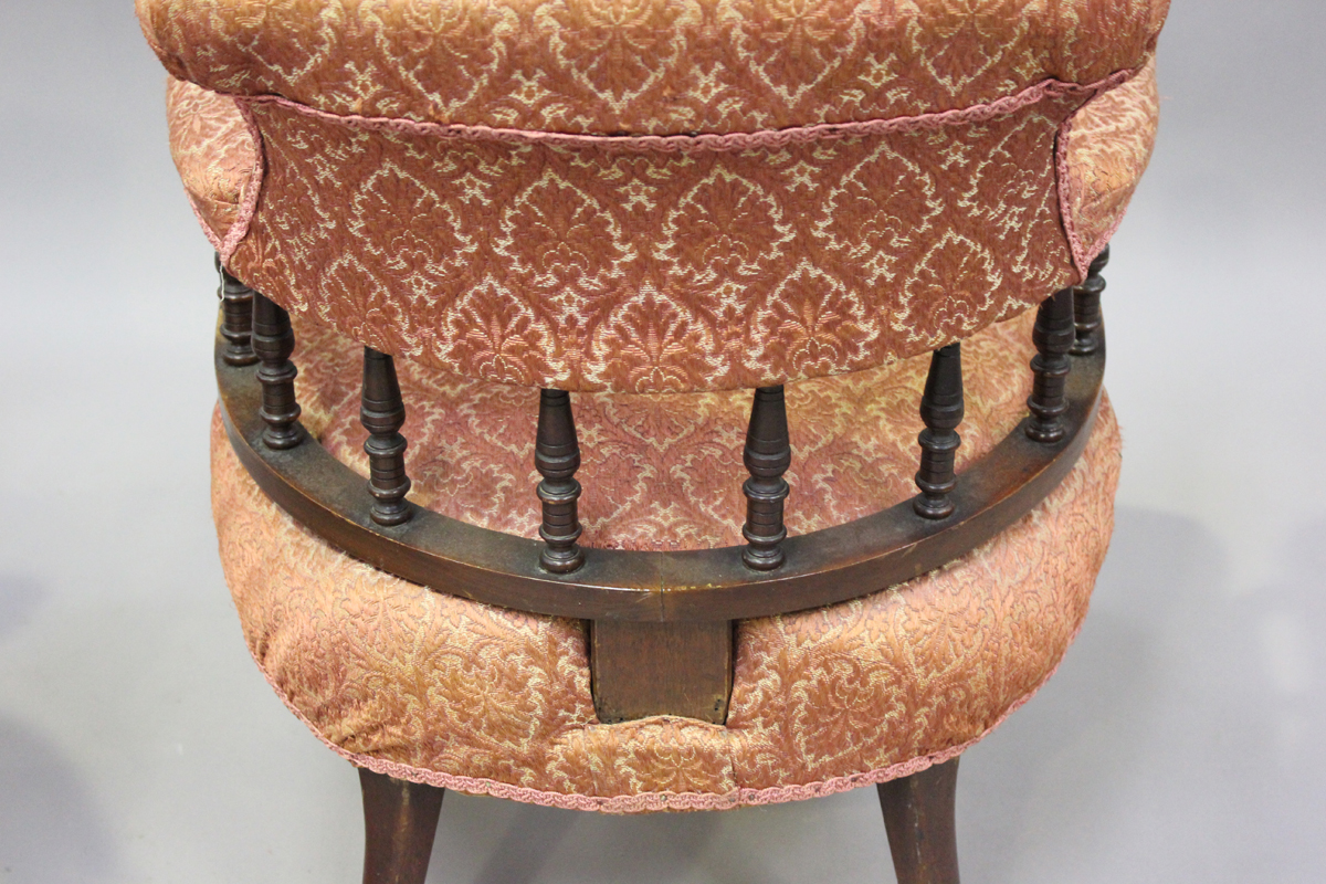 A pair of late Victorian walnut framed tub back salon armchairs, height 73cm, width 60cm, depth - Image 7 of 9