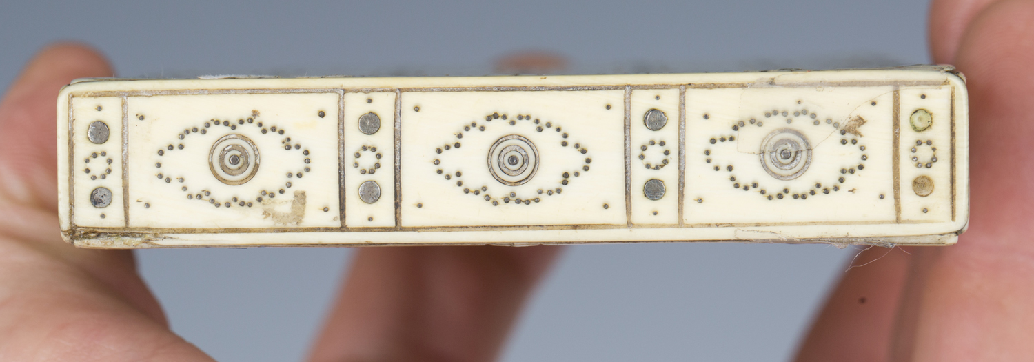A 19th century ivory and piqué inlaid visiting card case, engraved with an overall brickwork effect, - Image 2 of 5