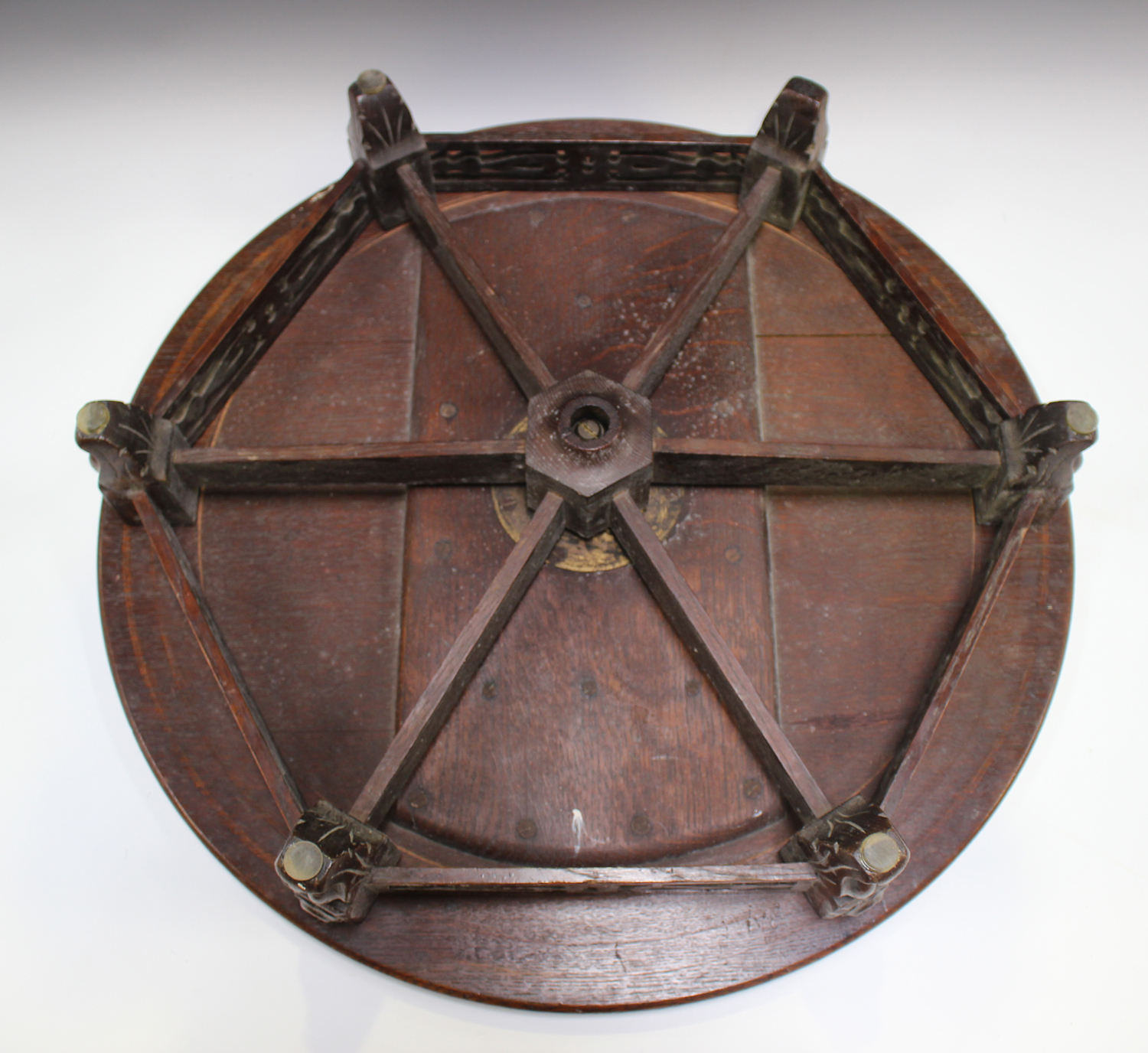 A late Victorian oak revolving lazy Susan, raised on a pierced frieze and scroll legs, height - Image 2 of 5