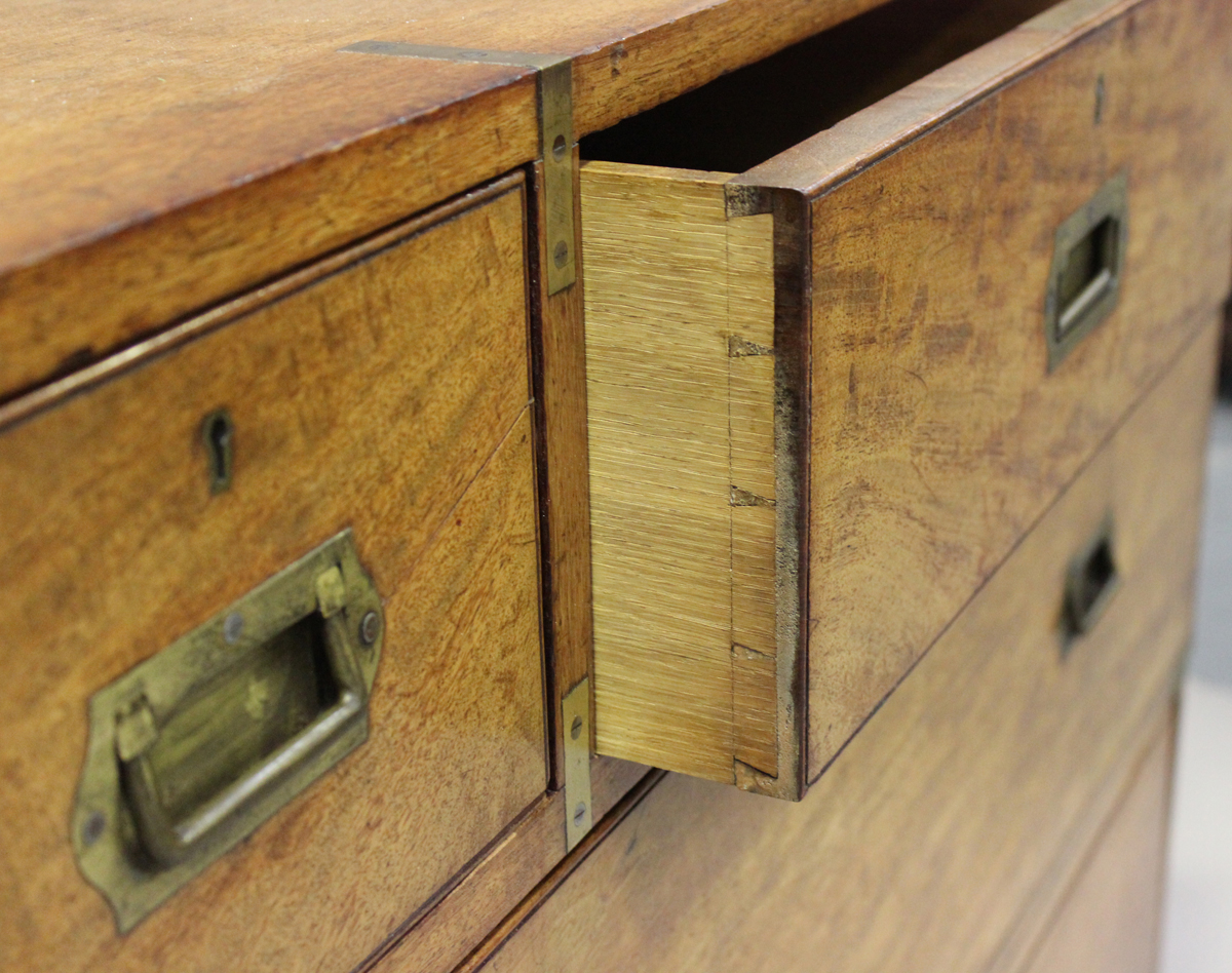 A late 19th century mahogany and brass bound campaign chest of three short and three long drawers, - Image 2 of 7