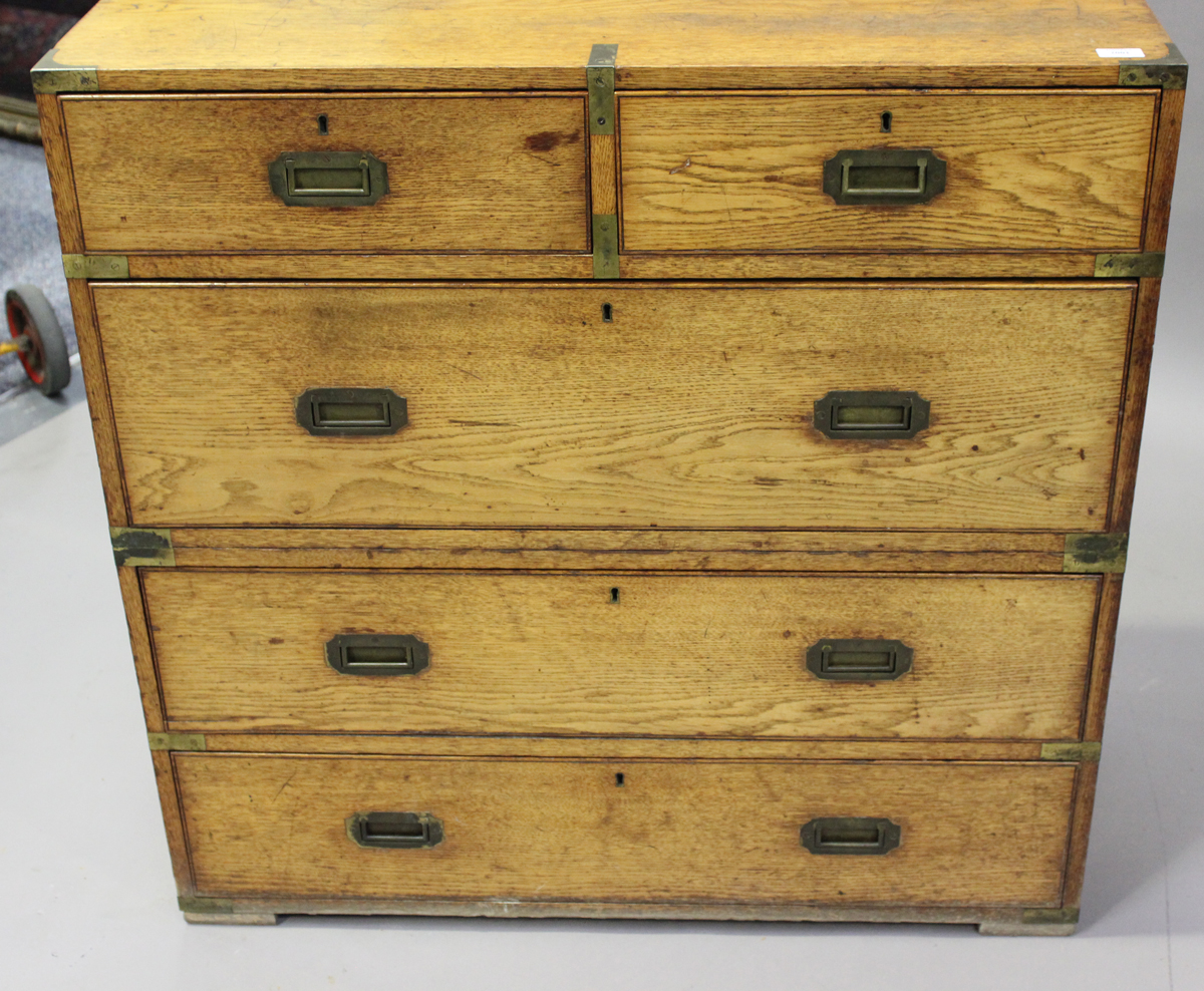 A late 19th century oak and brass bound campaign chest of two short and three long drawers, height - Image 7 of 7