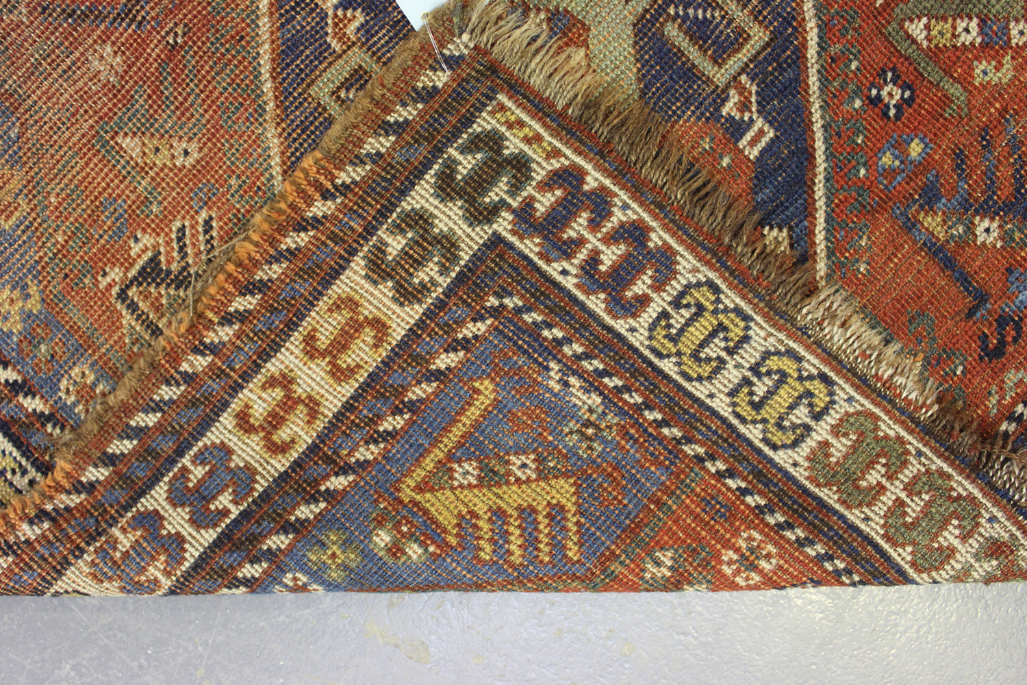 A Kamseh rug, South-west Persia, late 19th/early 20th century, the terracotta field with a pair of - Image 5 of 5