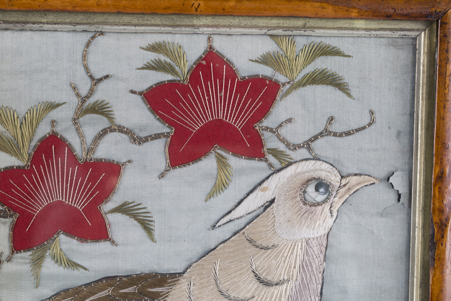 A near pair of late 19th century Japanese silk and metal thread stumpwork panels, both depicting - Image 30 of 31