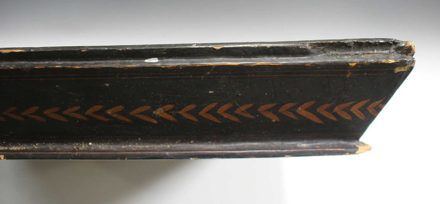 An early 20th century Chinese lacquered gallery tray, painted with ducks at a lakeside, width 54cm. - Image 4 of 7
