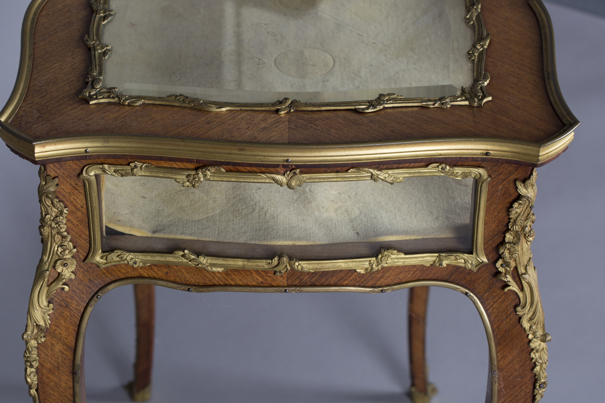 A good late 19th century Louis XV style kingwood bijouterie table with applied ormolu mounts, the - Image 6 of 9