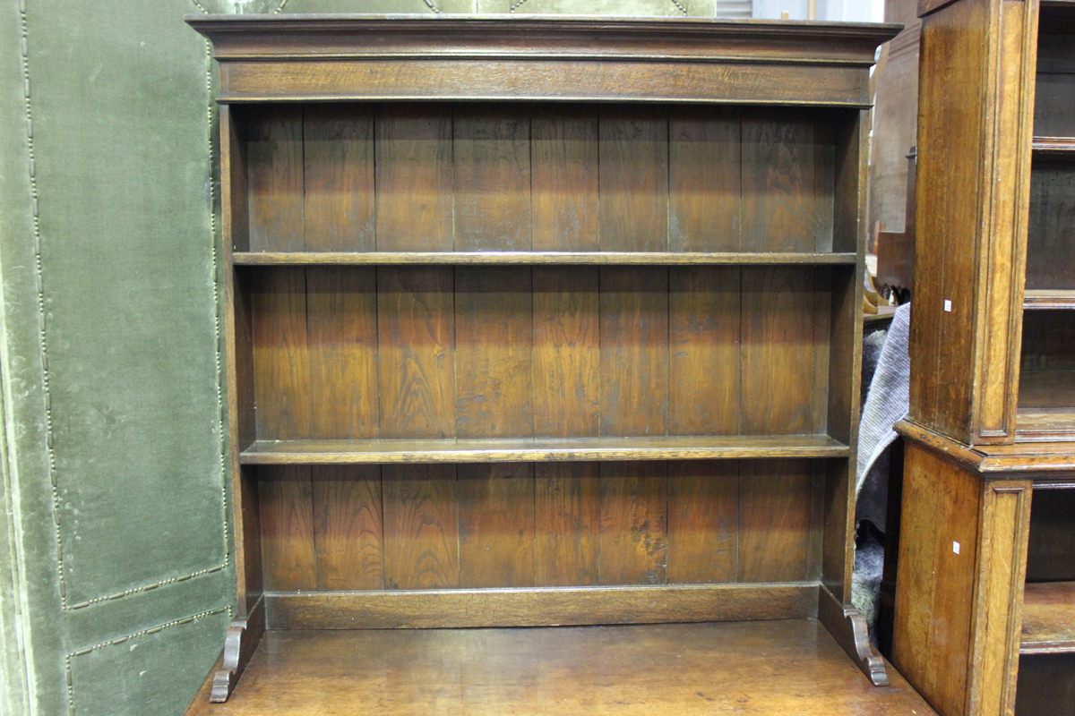 A 20th century Jacobean Revival oak dresser, the shelf back above two frieze drawers, on turned - Image 4 of 5
