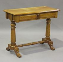 A late Victorian walnut side table, fitted with two frieze drawers, on turned supports, height 80cm,