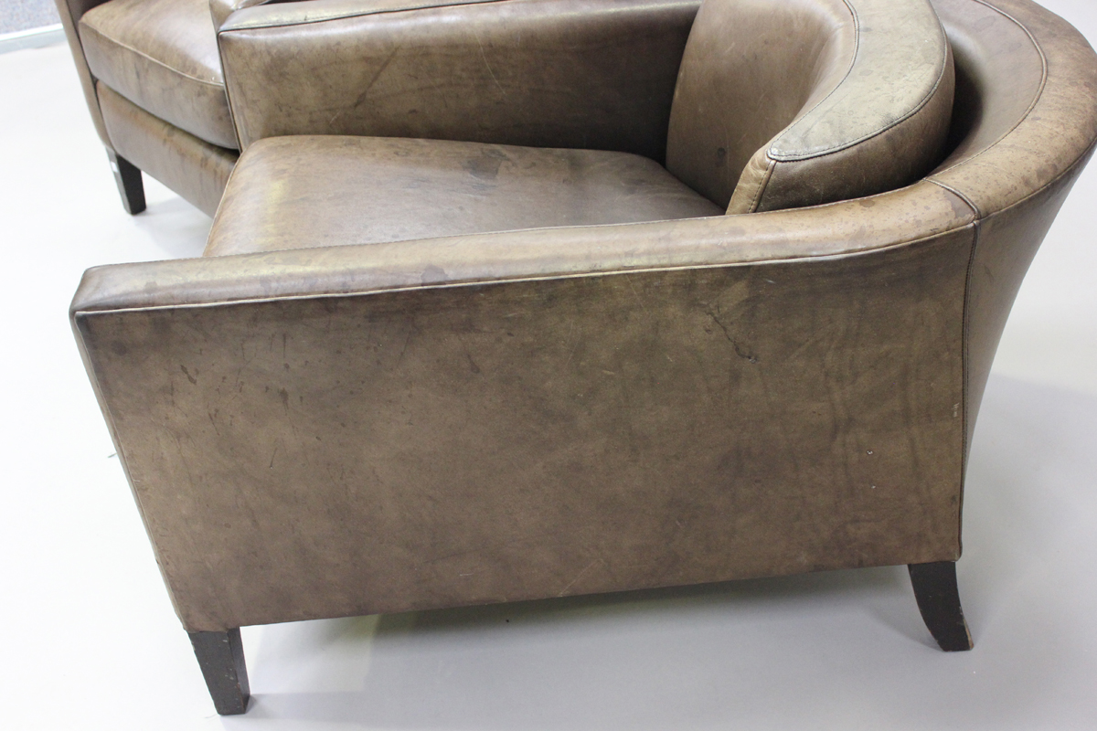 A pair of mid/late 20th century brown leather Marlborough style tub back armchairs, possibly - Image 3 of 5