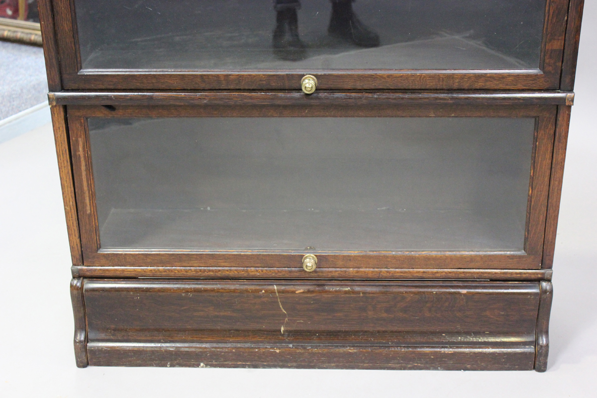 An early 20th century oak Globe Wernicke three-section glazed bookcase, height 115cm, width 86cm, - Image 6 of 6