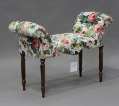A modern window seat, upholstered in floral printed Sanderson fabric, on fluted legs, height 66cm,