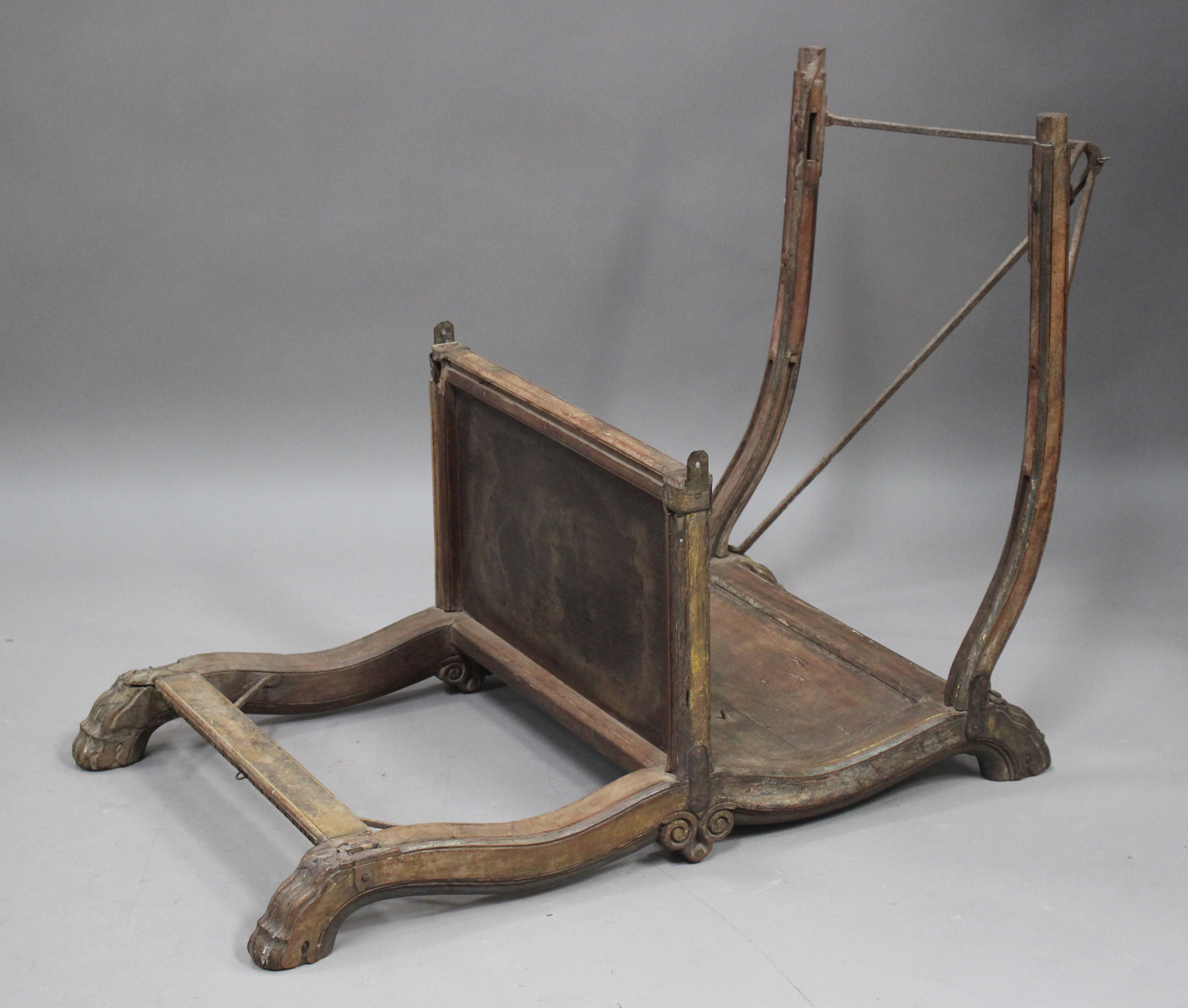 A late 19th/early 20th century Indian hardwood elephant howdah, height 70cm, length 110cm (some