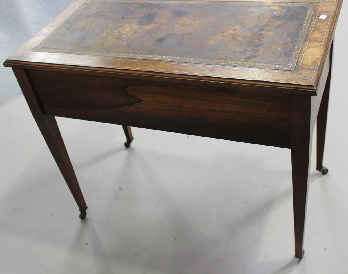 A late Victorian rosewood writing table with boxwood foliate and line inlaid decoration, height - Image 2 of 5