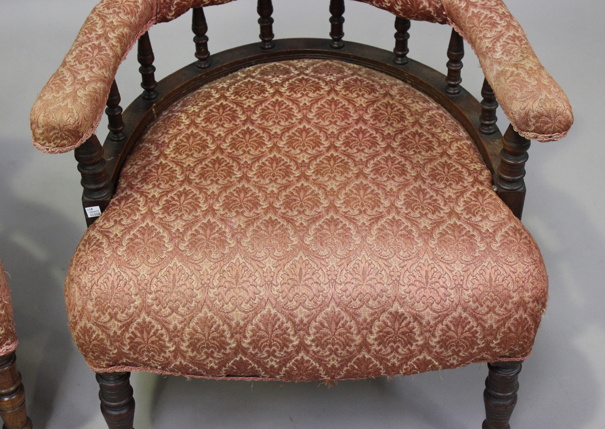 A pair of late Victorian walnut framed tub back salon armchairs, height 73cm, width 60cm, depth - Image 8 of 9