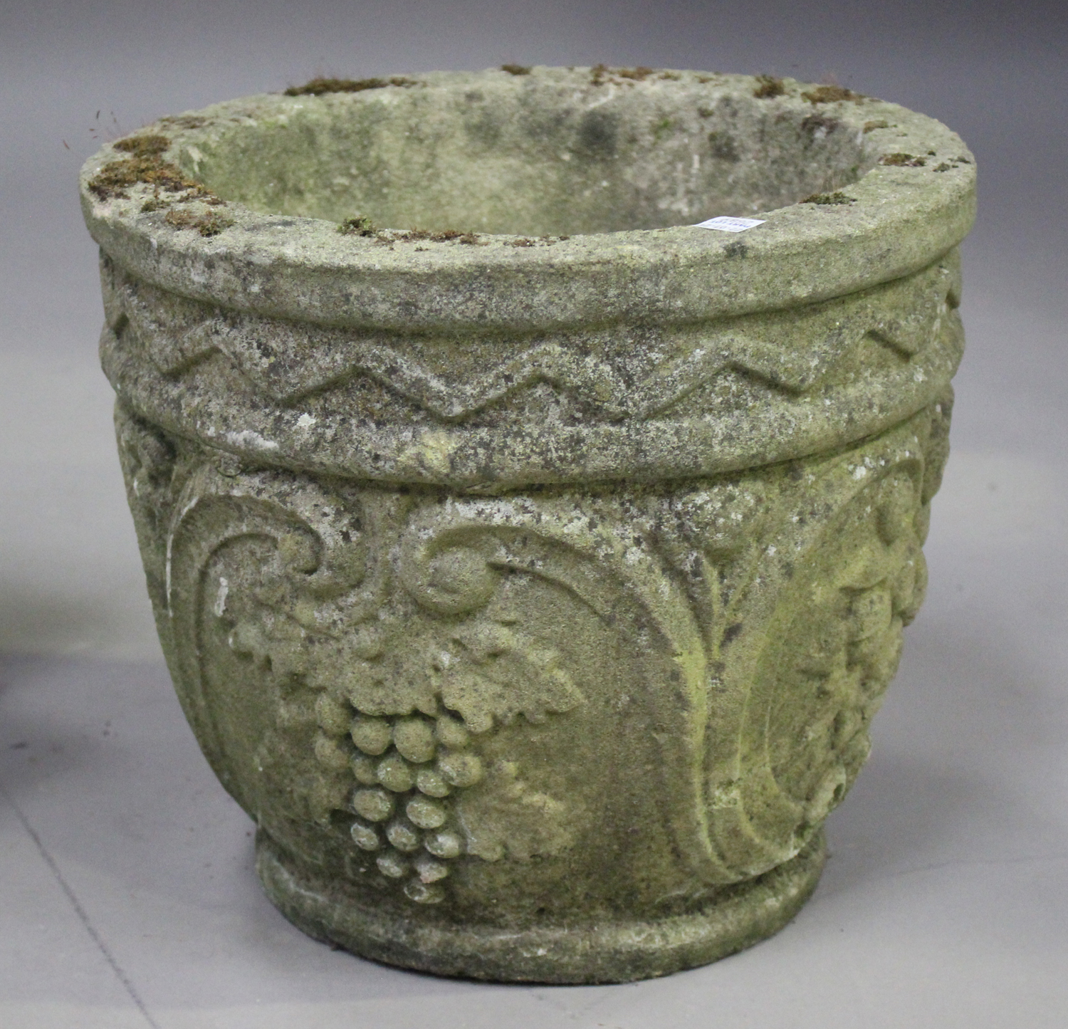 A pair of 20th century cast composition stone planters, decorated with grapes and scrolls, height - Image 7 of 7