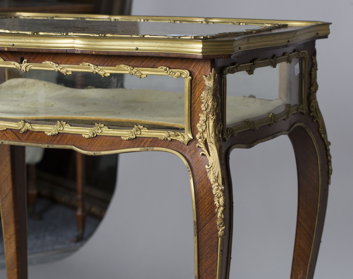 A good late 19th century Louis XV style kingwood bijouterie table with applied ormolu mounts, the - Image 8 of 9