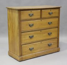 An Edwardian satin walnut chest of two short and three long drawers, height 106cm, width 111cm,