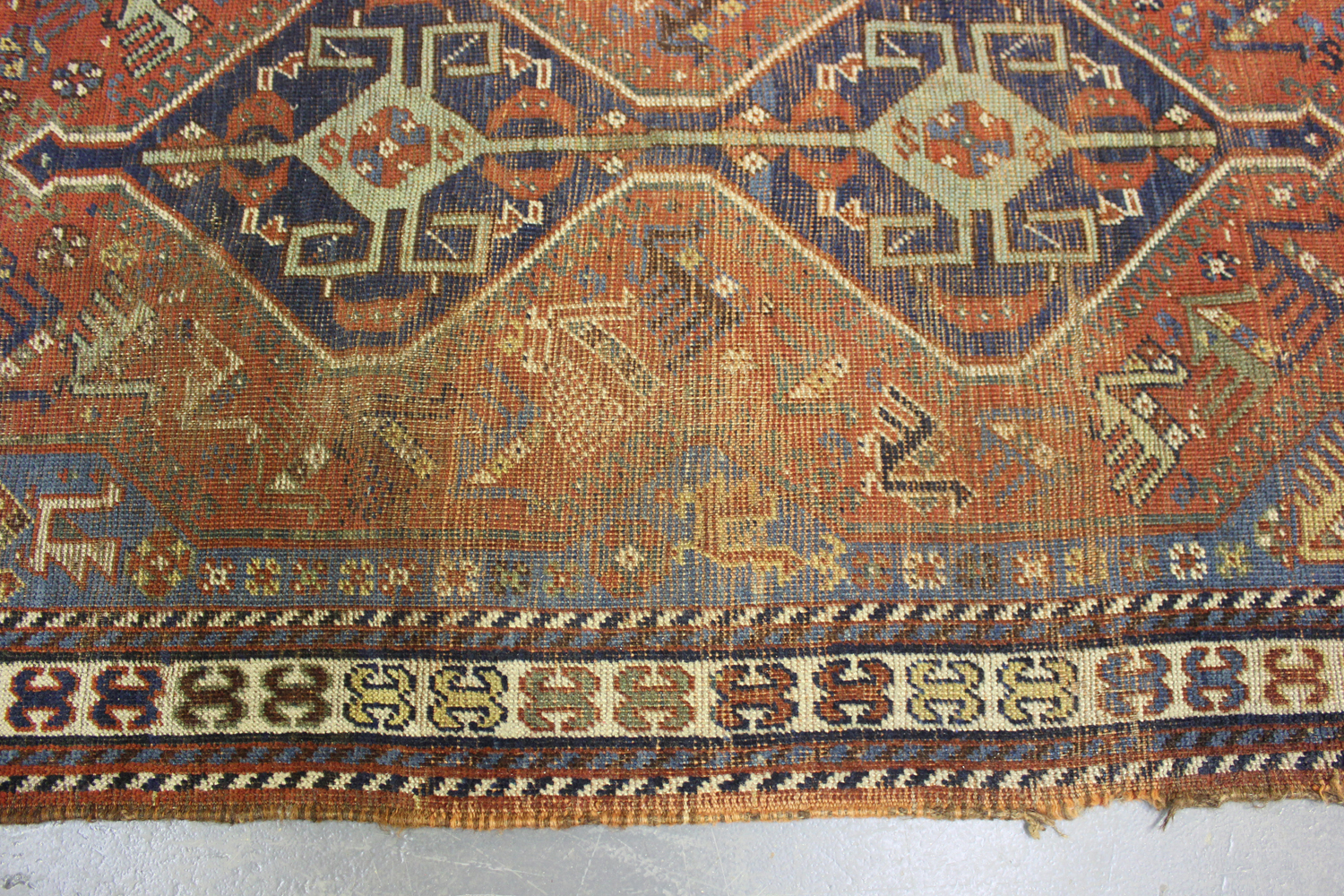 A Kamseh rug, South-west Persia, late 19th/early 20th century, the terracotta field with a pair of - Image 4 of 5