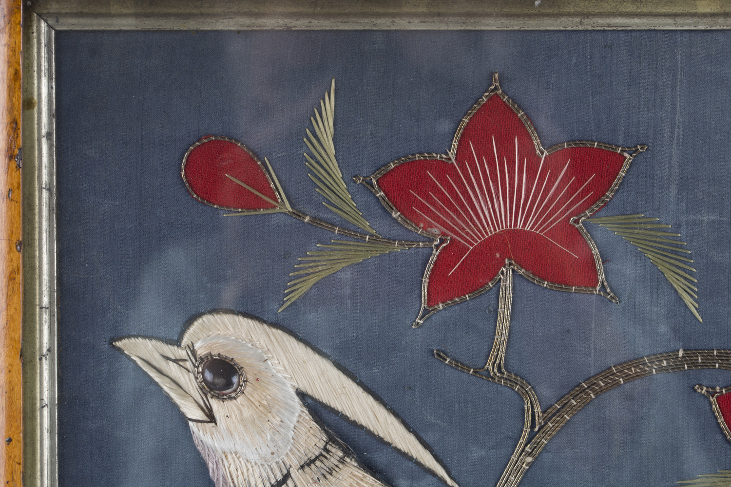 A near pair of late 19th century Japanese silk and metal thread stumpwork panels, both depicting - Image 21 of 31