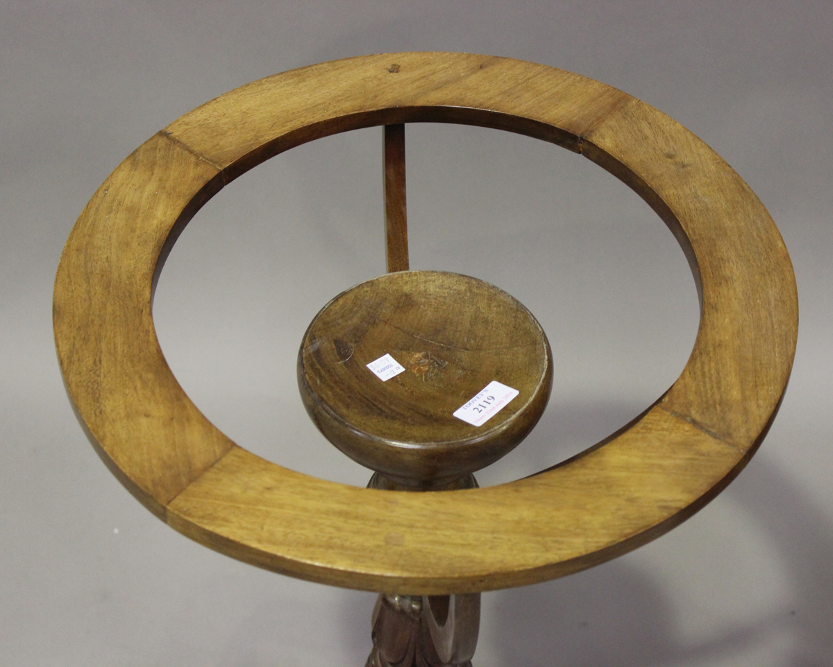 A Regency mahogany library globe stand, raised on a tulip cusp stem and tripod legs, height 70cm, - Image 3 of 4