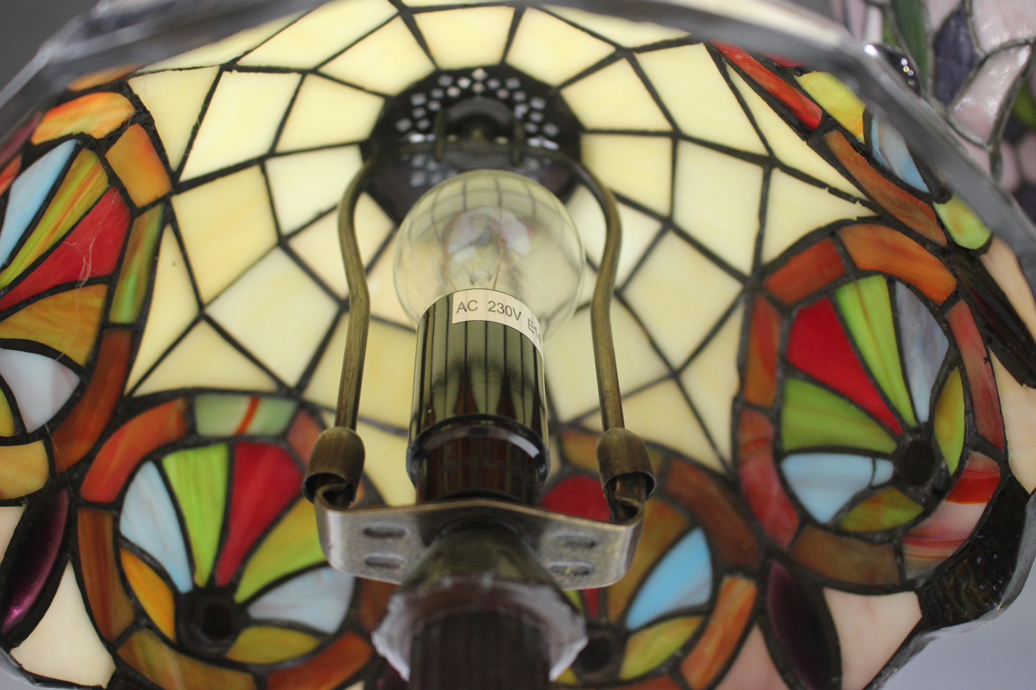 A modern Tiffany style table lamp with a stained and leaded glass domed shade, height 53cm, together - Image 5 of 8