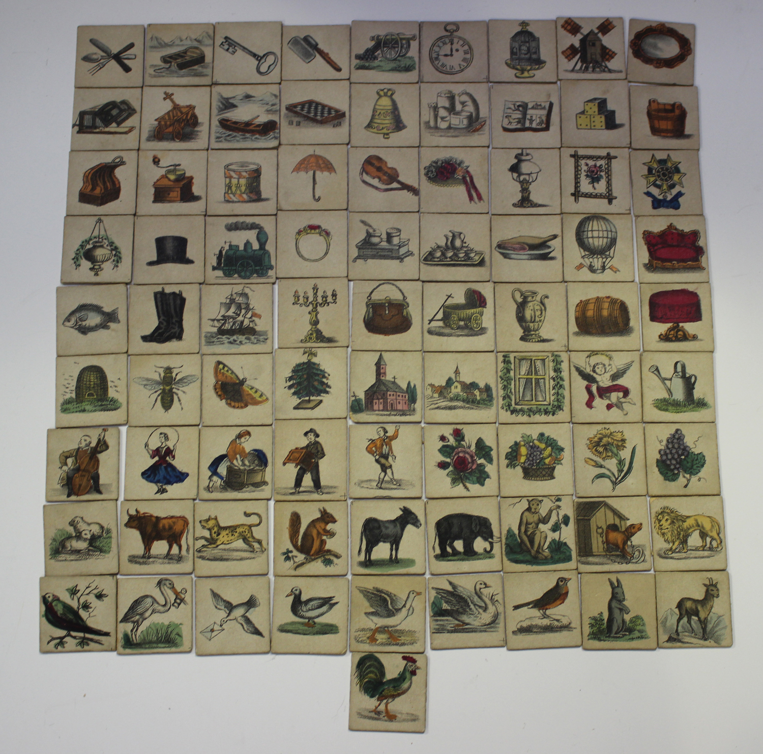 An early/mid-19th century chromolithographed child's picture puzzle game, comprising twelve cards - Image 2 of 6