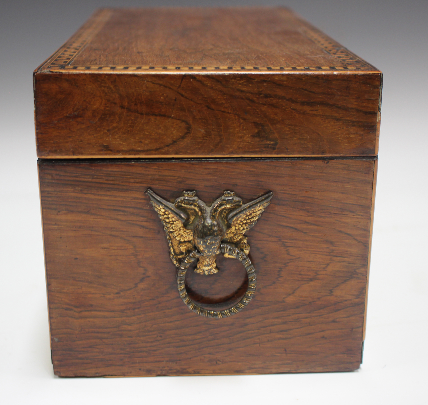A George III rosewood tea caddy with inlaid running scroll borders and applied gilt metal phoenix - Image 5 of 10